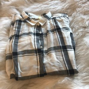 Black and white plaid blouse from Loft